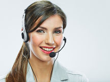 Customer support operator close up portrait.  call Royalty Free Stock Photos