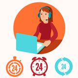 Customer support operator - flat illustration Royalty Free Stock Photos