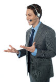 A customer support operator with a headset Royalty Free Stock Photography