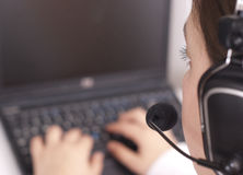 Customer support operator with laptop Stock Images