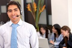 Customer support operator man smiling Stock Photography