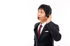 Customer support operator man smiling. Customer support operator man smiling isolated on white background royalty free stock photos