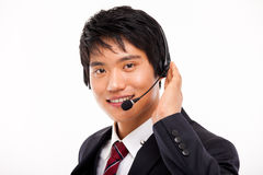 Customer support operator man smiling. Customer support operator man smiling isolated on white background royalty free stock photo