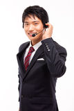Customer support operator man smiling. Customer support operator man smiling isolated on white background stock image