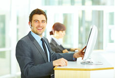Customer support operator in office Royalty Free Stock Image