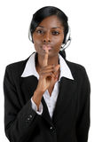 Customer support operator silence Stock Photos