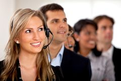 Customer support operator team Stock Photos