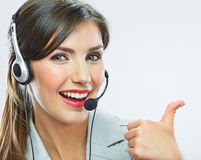 Customer support operator thumb show.  call center Royalty Free Stock Photo