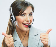 Customer support operator thumb show.  call center smiling oper Royalty Free Stock Photography