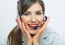 Customer support operator. Woman face.Call center smiling opera Royalty Free Stock Photos