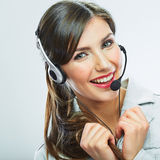 Customer support operator. Woman face.Call center smiling opera Stock Photography