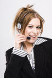 Customer support operator woman smiling Stock Photos