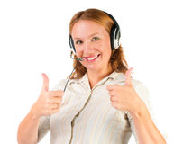 Customer support operator woman smiling Royalty Free Stock Photos