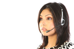 Customer support operator woman smiling - isolated Royalty Free Stock Photos