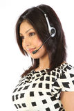 Customer support operator woman smiling - isolated Royalty Free Stock Images
