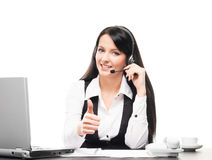 A customer support operator working in a office on white Royalty Free Stock Photography