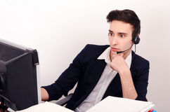 Customer support phone operator with headset. Stock Photos