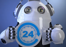Customer support phone operator robot in headset. Contains clipp. Ing path Royalty Free Stock Photos