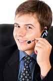 Customer support representative. Smiling male customer service representative with headset Stock Photography