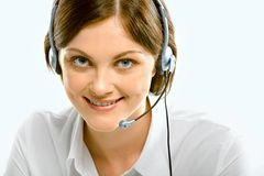 Customer support service. Portrait of attractive customer support service with fascinating smile Royalty Free Stock Image