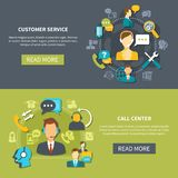 Customer Support Service Banners. Horizontal banners on black green background with customer support service and call center isolated vector illustration Royalty Free Stock Image