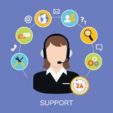 Customer Support Service. 24h online worldwide available customer support helpdesk woman operator service concept vector illustration Stock Photo