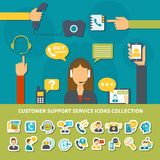 Customer Support Service Icons Collection. With operator of call center during consultation, helpdesk online isolated vector illustration Stock Photos