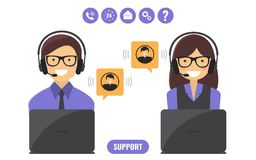 Customer support service concept. Customer support service, technical support call center concept. Vector flat style illustration Royalty Free Stock Images