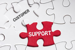 Customer Support text on missing puzzle - business and finance concept Royalty Free Stock Photo