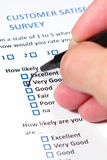 Customer Survey. A survey questionnaire for customer satisfaction with checkboxes Stock Photos