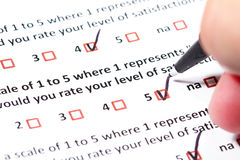 Customer Survey. A survey questionnaire for customer satisfaction with checkboxes Stock Photography