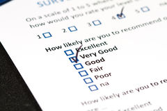 Customer Survey. A survey questionnaire for customer satisfaction with checkboxes stock image