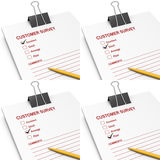 Customer survey answers. Collage with answers to customer survey such as excellent, good, average and poor Stock Images