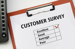 Customer Survey. Excellent good average poor Stock Photography