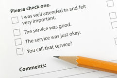 Customer survey form Royalty Free Stock Photos