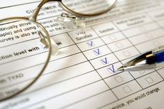 Customer survey form Stock Photo