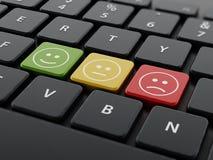 Customer survey symbols on the keyboard. 3D illustration Stock Photography
