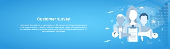 Customer Survey Web Horizontal Banner With Copy Space Stock Images