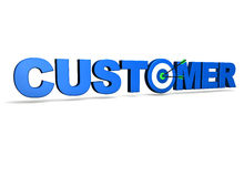 Customer Target. Customer concept with target and two arrows on green centre. On white background Stock Image