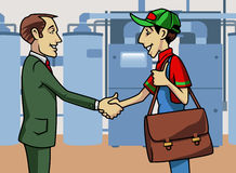 Customer and technician. Cartoon-style illustration: a customer and a boiler technician shaking their hands Royalty Free Stock Photos