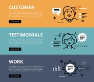 Customer Testimonials Work. Web banners  set Royalty Free Stock Photo