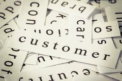 Customer topic. In cut paper on the top of the other words Royalty Free Stock Image