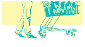 Customer with trolley. Vector illlutration with a customer with full trolley Stock Photo