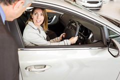 A customer try a car Stock Images