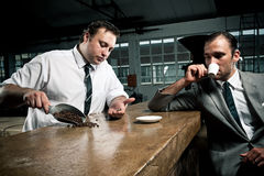 Customer and waitor talk about coffee stock photo