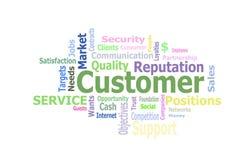 Customer word cloud illustration. Customer word cloud over white royalty free illustration