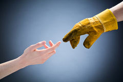 Customer and Worker Touching Hands royalty free stock image