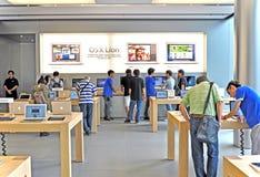 Customers at apple store in hong kong royalty free stock photography