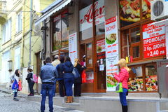 Customers buying fast food Stock Image