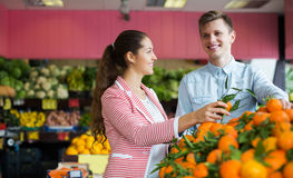 Customers buying oranges. Two young customers buying oranges, lemons and tangerines in grocery section stock photo